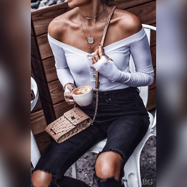 Μακρυμάνικη μεσάτη άσπρη γυναικεία μπλούζα BEANITA