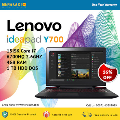 Lenovo Ideapad Y700-15ISK Core i7 – 6700HQ 2.6GHZ 4GB RAM 1 TB HDD DOS