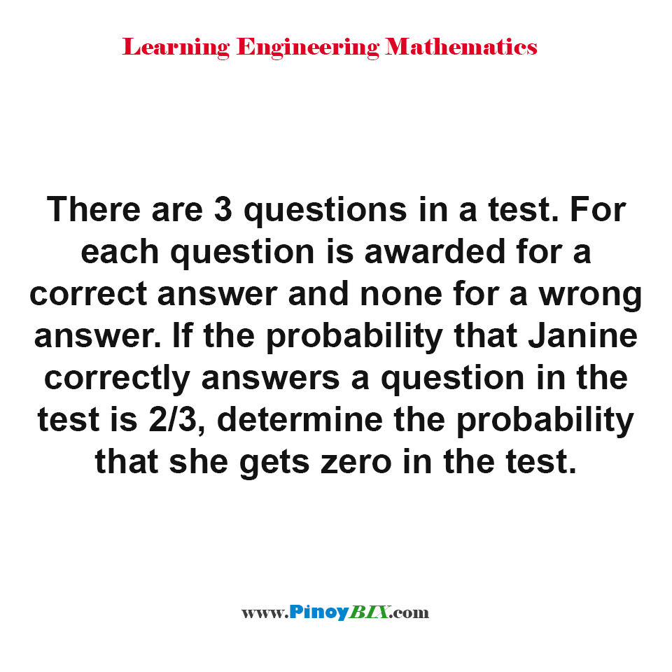 Determine the probability that Janine gets zero in the test