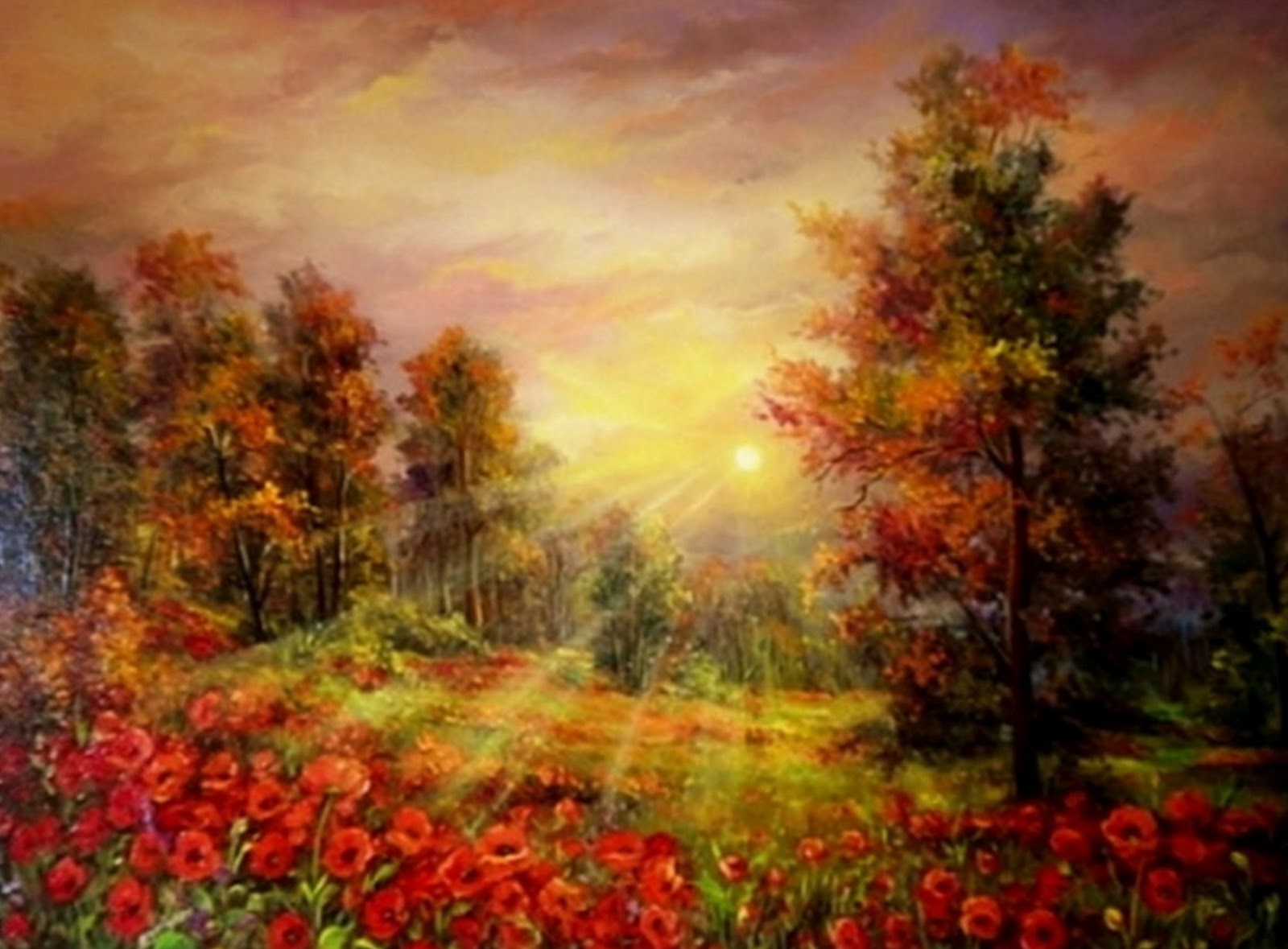 Cuadros modernos pinturas y dibujos paisajes al leo de for Laminas grandes para cuadros