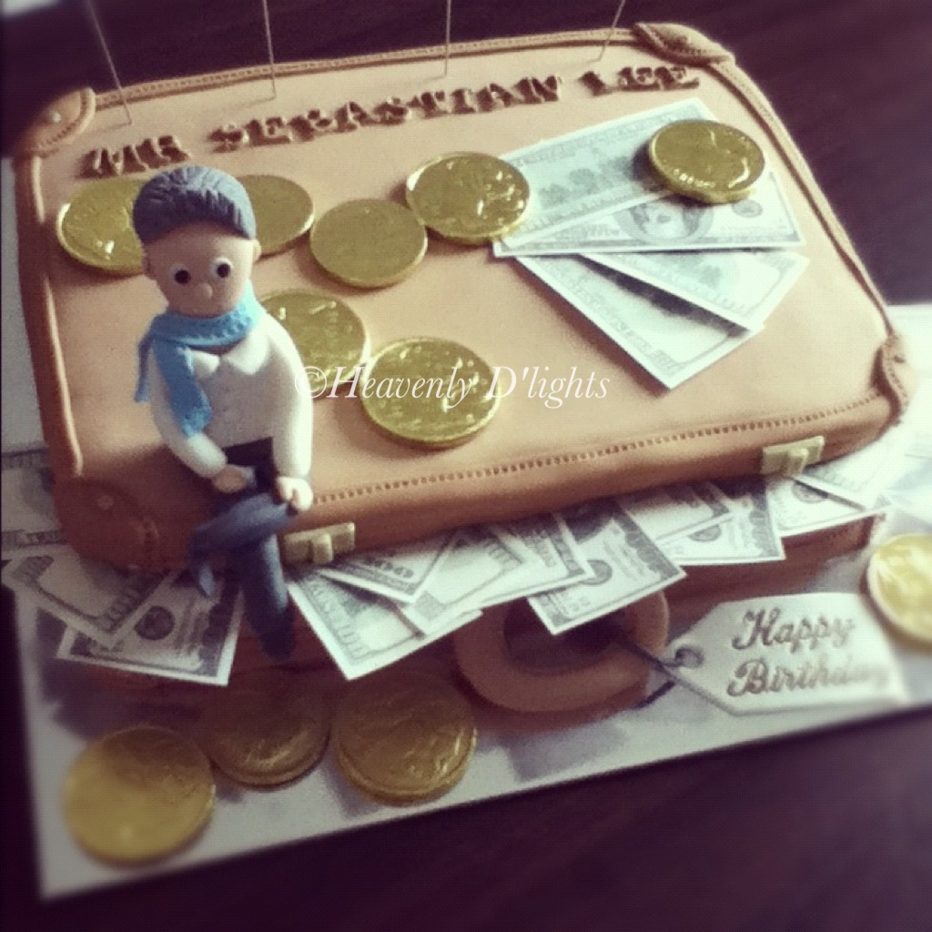 Heavenly Dlights Money Suitcase Birthday Cake