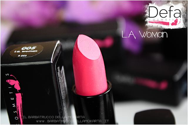 l.a. woman recensione Defa cosmetics lipstick