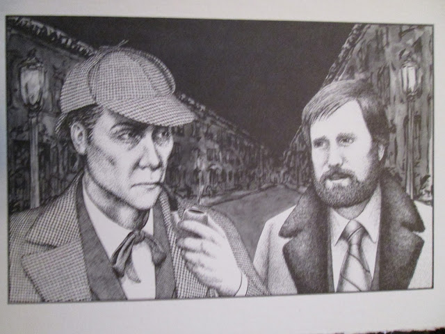 Jerry Margolin with Sherlock Holmes, as drawn by Carl Bennett