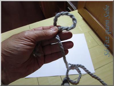 Foto mostrando um fio com uma alça sendo segurada firmemente com os dedos para execução do nó corrediço