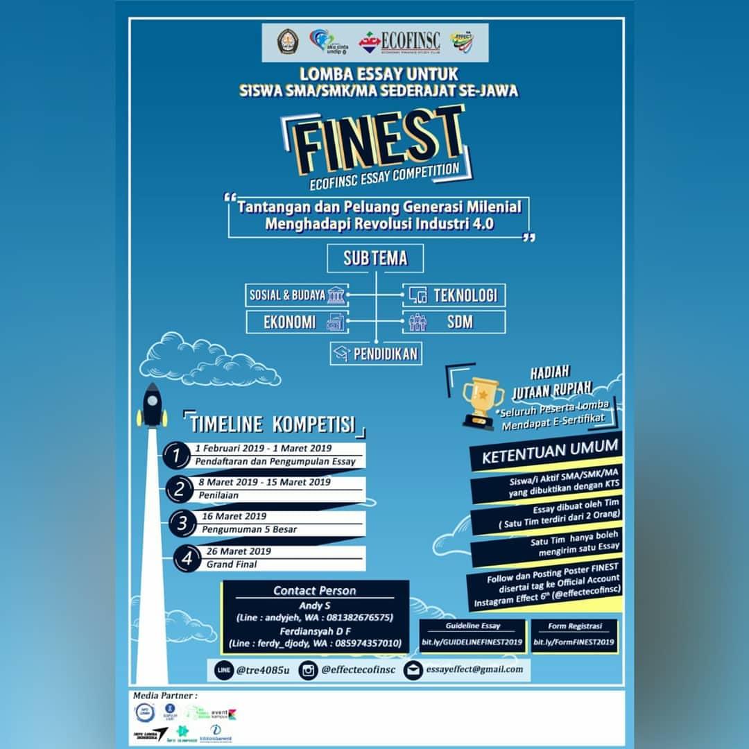 Lomba Essay FINEST 2019 SMA Sederajat se-Jawa