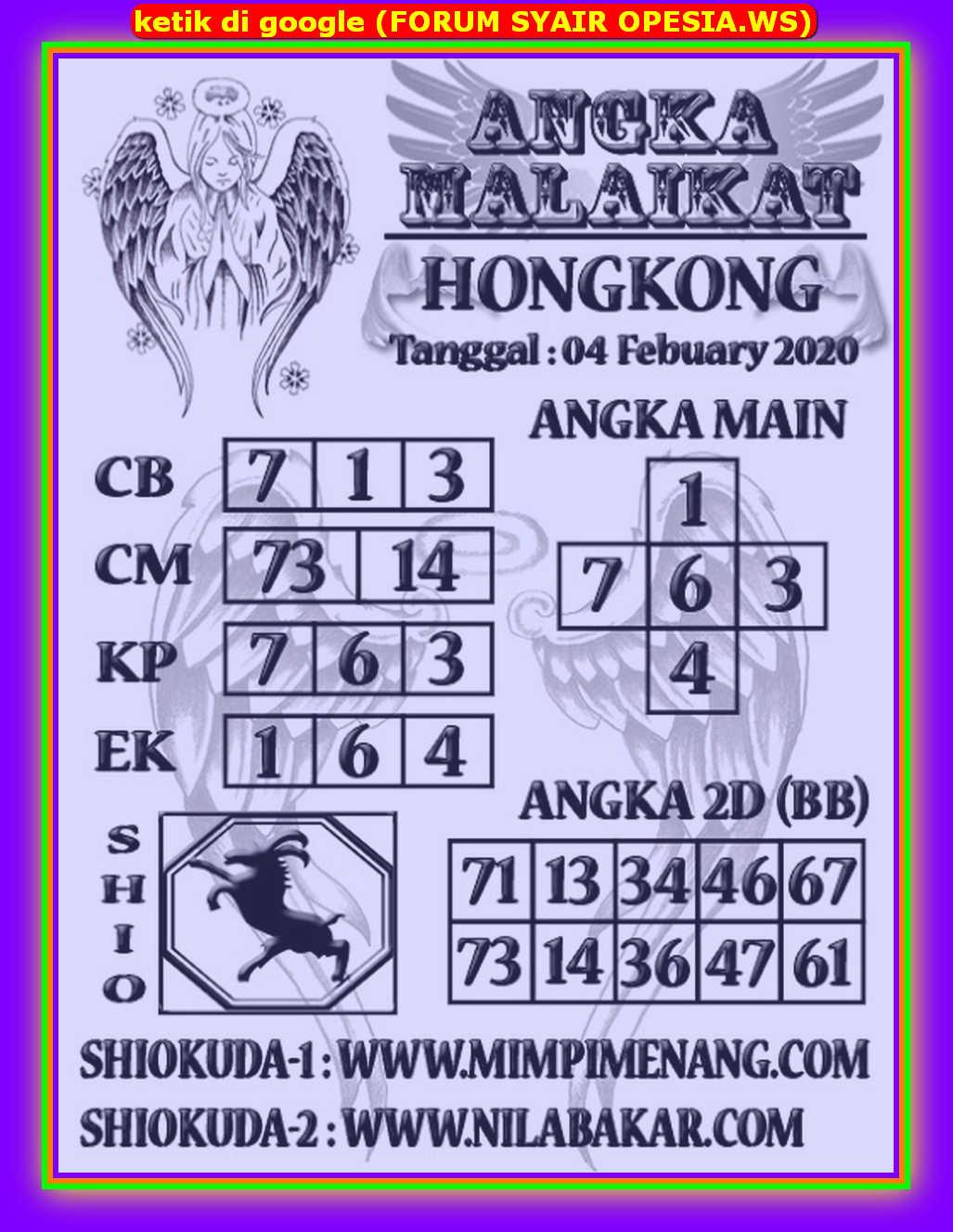 Kode syair Hongkong Selasa 4 Februari 2020 193