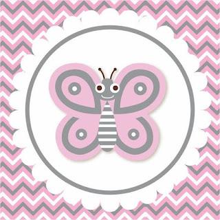 Etiquetas de  Mariposa Rosada para imprimir gratis.