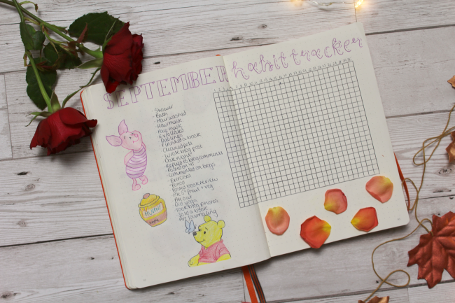 Winnie the Pooh themed bullet journal spreads - www.nourishmeblog.co.uk