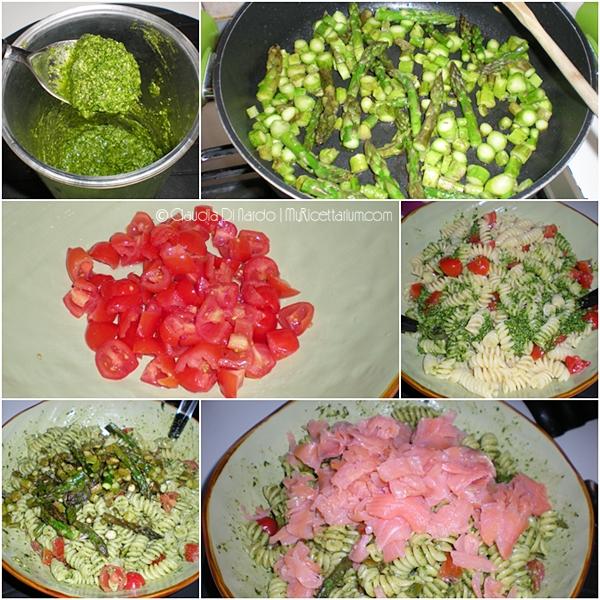Pasta fredda con pesto, asparagi, pomodorini e salmone