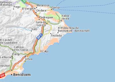 Carte de Javéa et Gata de Gorgos