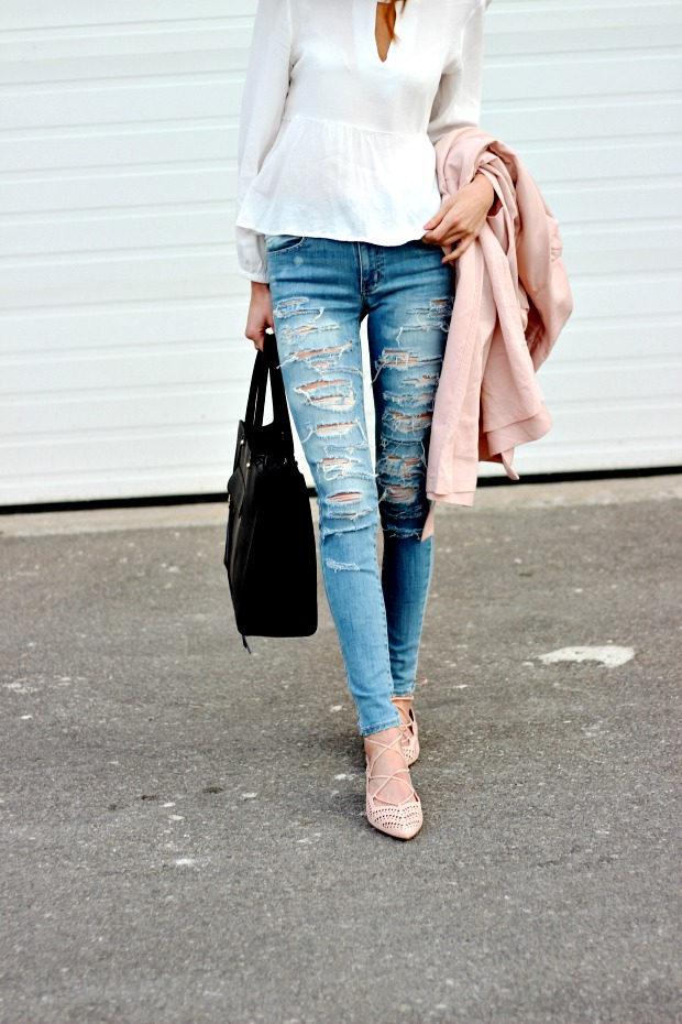 Spring Pastels-- Ripped denim, blush trench, blush lace up flats