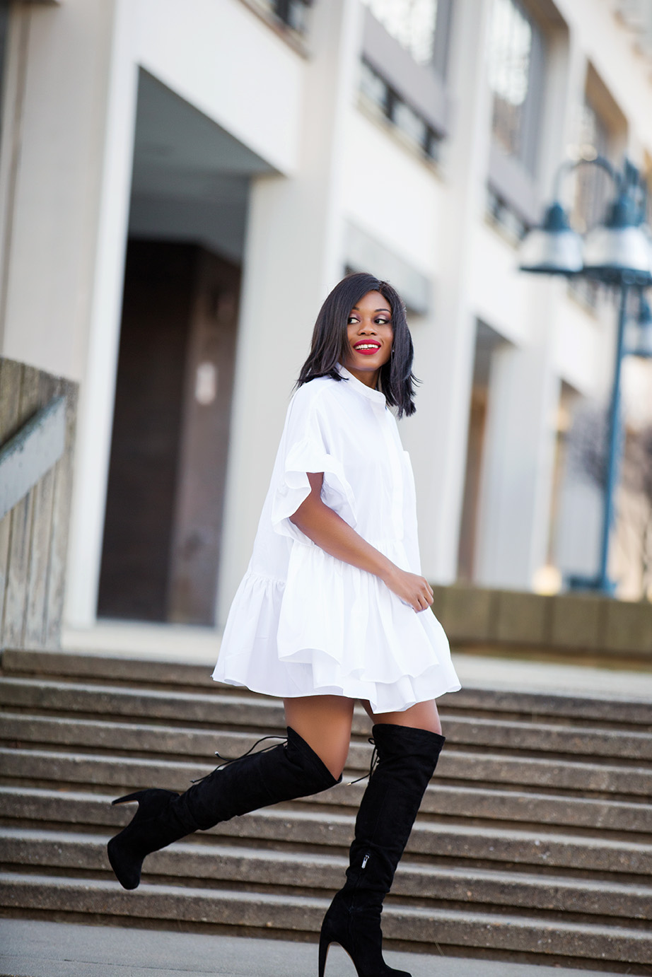 oversized shirtdress and over the knee boots, www.jadore-fashion.com