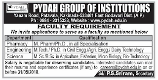 Pydah Group of Instituions Kakinda Faculty Recruitment of Pharmacy, Engineer, Degree Colleges