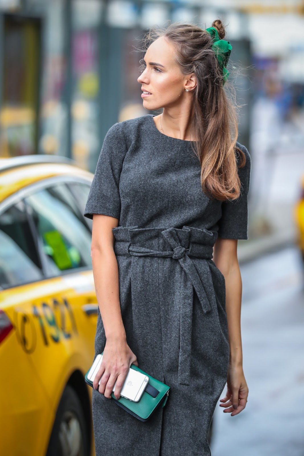 gray wool dress outfit