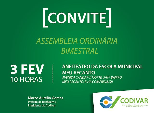 CODIVAR realizará no dia 3 primeira assembleia de 2017