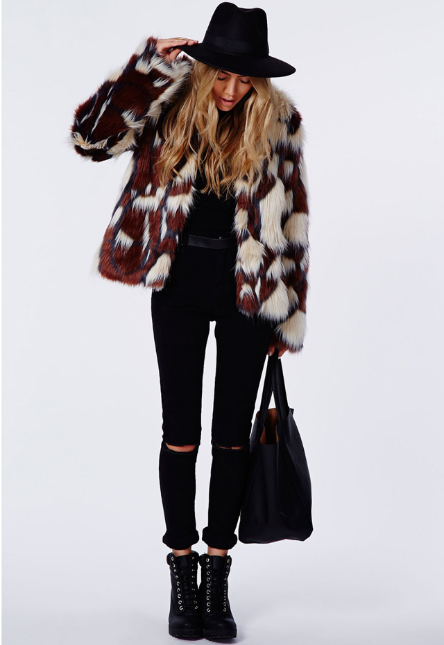 colourful furry jacket Fashion blogger Sincerely Jules wearing multicolor faux fur coat by River Island, big winter 2014 trend