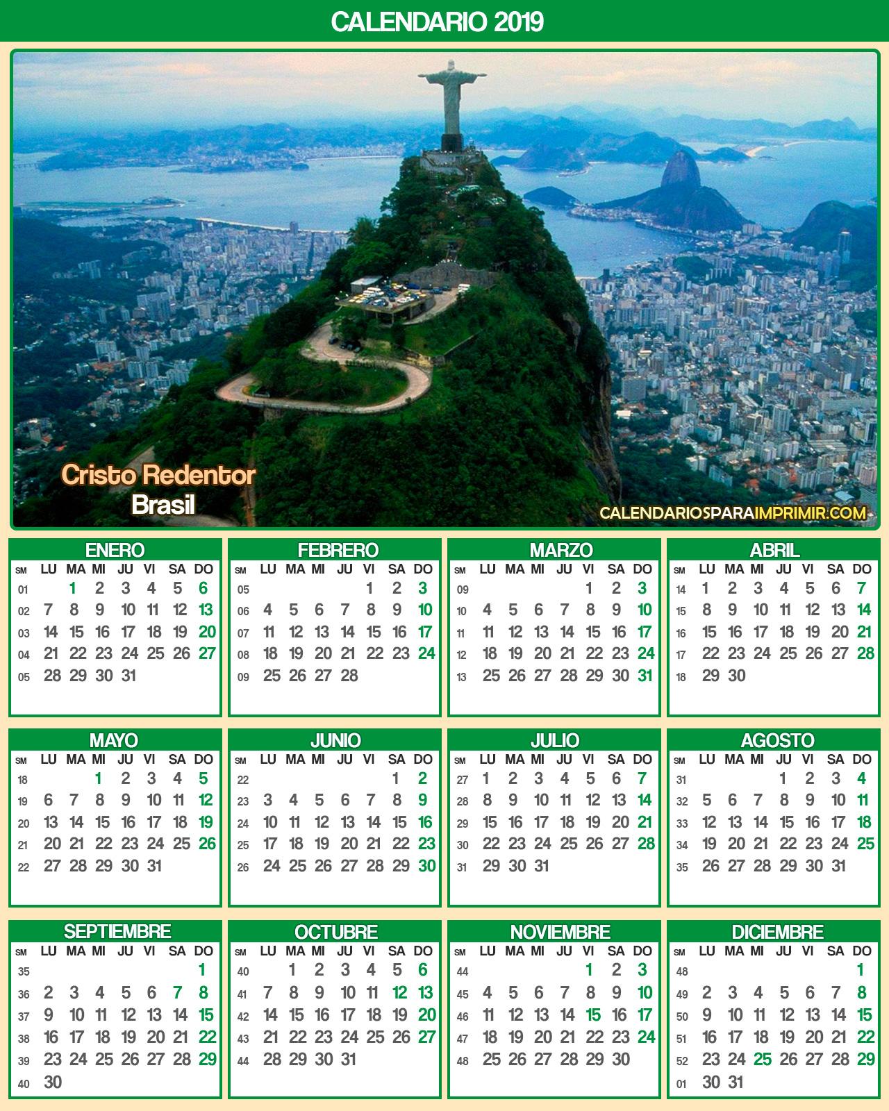 calendarios de brasil 2019