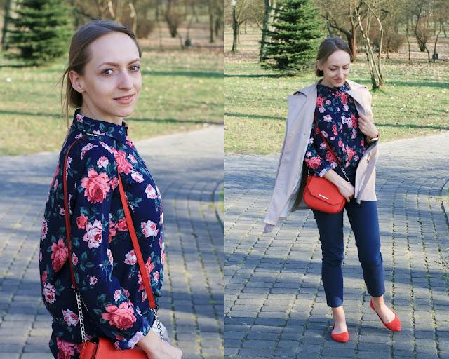 Spring style with flowers and red accents | Wiosenny strój dnia z koszulą w kwiaty i czerwonymi dodatkami