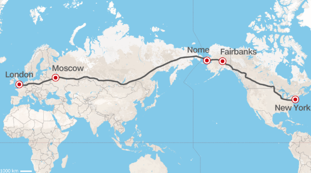 this hyperloop will also connect people technology and commerce from new york fairbanks alaska nome alaska to moscow russia and finally to london