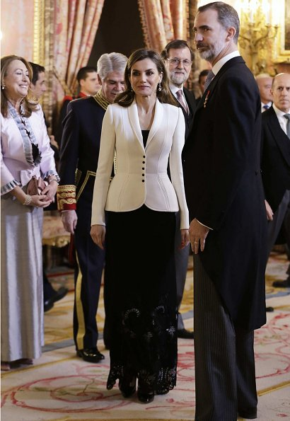 Queen Letizia wore Felipe Varela blazer and skirt at the Foreign Ambassadors Reception at The Royal Palace in Madrid