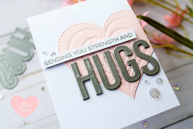 Sending You Strength and HUGS Sympathy Card - Die Impression Cut Out