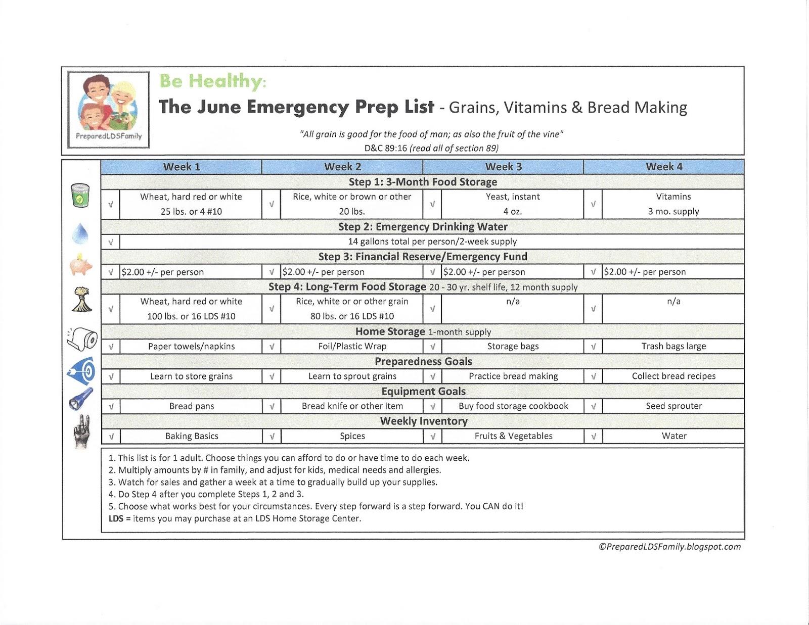 Prepared Lds Family June Emergency Preparedness Goals