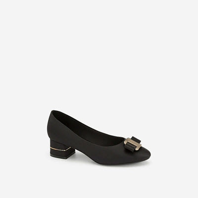 Giày Bít Mũi Phối Nơ Kim Loại - BMN 0401 - Màu Đen