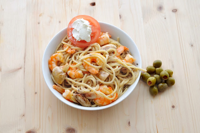 Cheese and Mushroom Spaghetti with Prawns ~ Simple Food