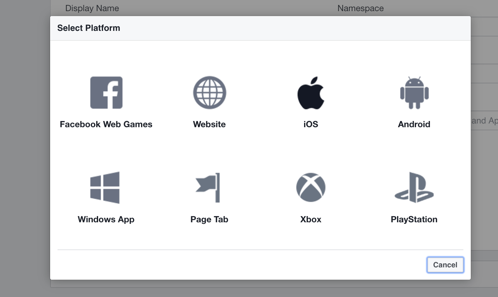 select platform facebook developers