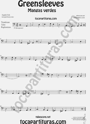 Greensleeves Partitura de Trombón, Tuba Elicón y Bombardino Mangas Verdes o ¿Qué niño es este? Sheet Music for Trombone, Tube, Euphonium Music Scores Carol Song What child is this?