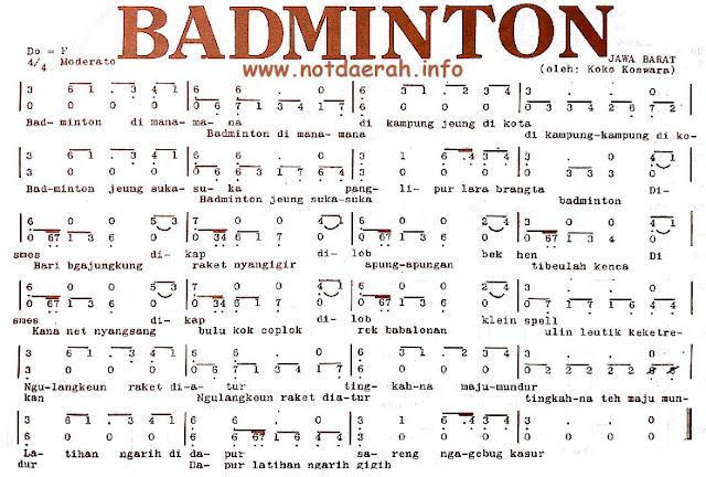Not Angka Lagu Badminton Sunda Jawa Barat