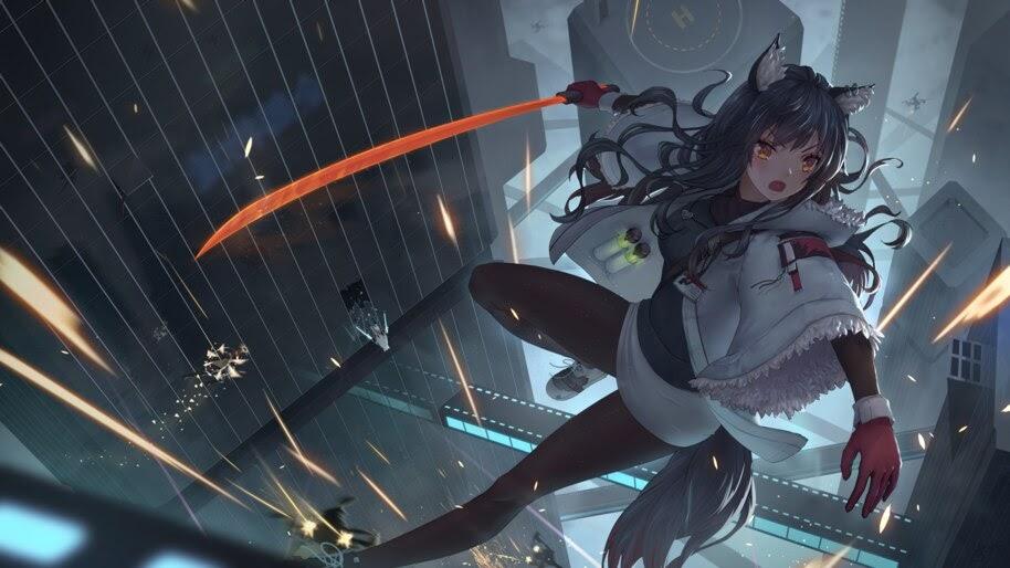 Anime, Girl, Sword, Texas, Arknights, 4K, #6.529