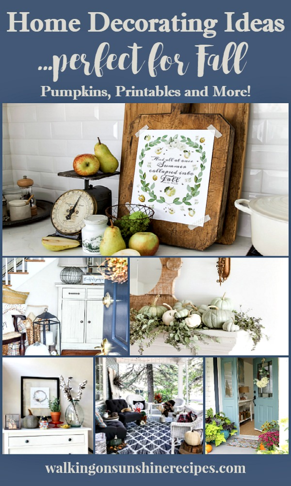 Home Decorating Ideas perfect for Fall featured on Walking on Sunshine Recipes