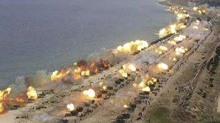 Pasukan artileri Korut menembakkan ratusan roket di pantai Wongsan