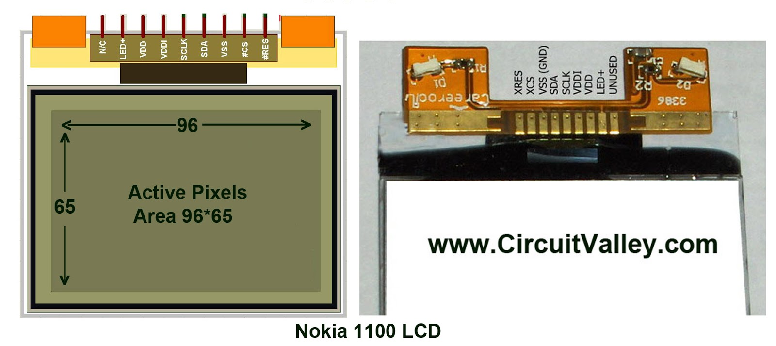 Nokia 1100 LCD Pinout
