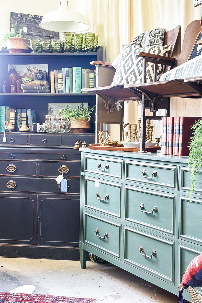 Black, green and blue vintage furniture and decor