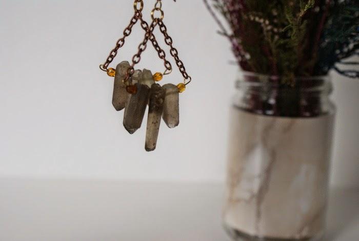 earrings quartz crystals bohemian jewelry