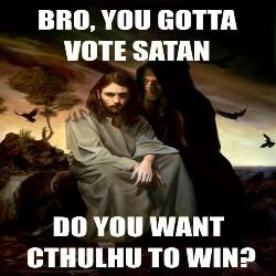 Jesus must choose between Satan and Cthulu.