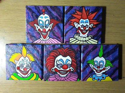 Mini paintings #242 - 246 Killer Klowns from Outer Space