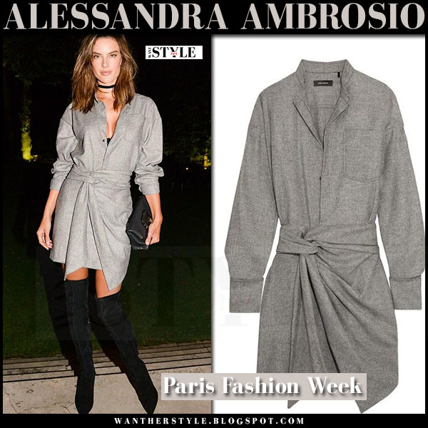 Alessandra Ambrosio in grey wrap isabel marant khol mini dress and black boots what she wore party outfit