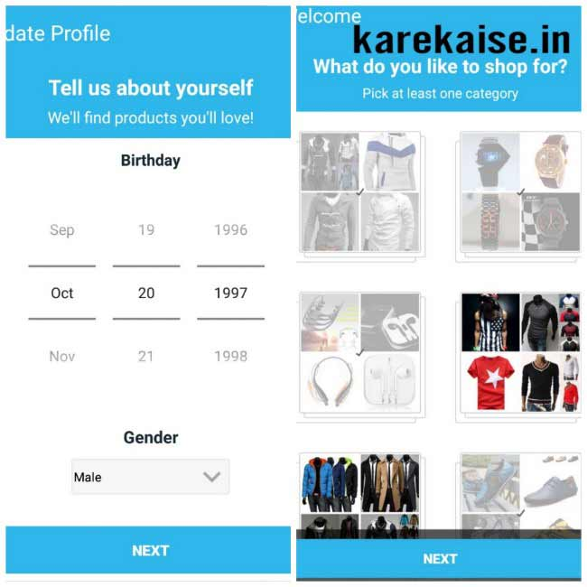 Wish app par category select kare
