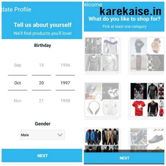 Wish app par category select kare