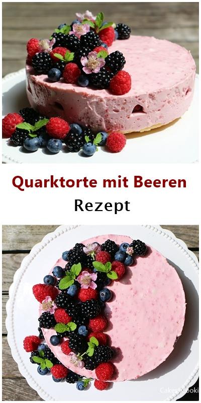 Rezept für Quarktorte mit Himbeeren, Brombeeren und Heidelbeeren - ohne Backen