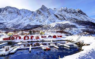 Norway beautiful landscape of fjord in winter