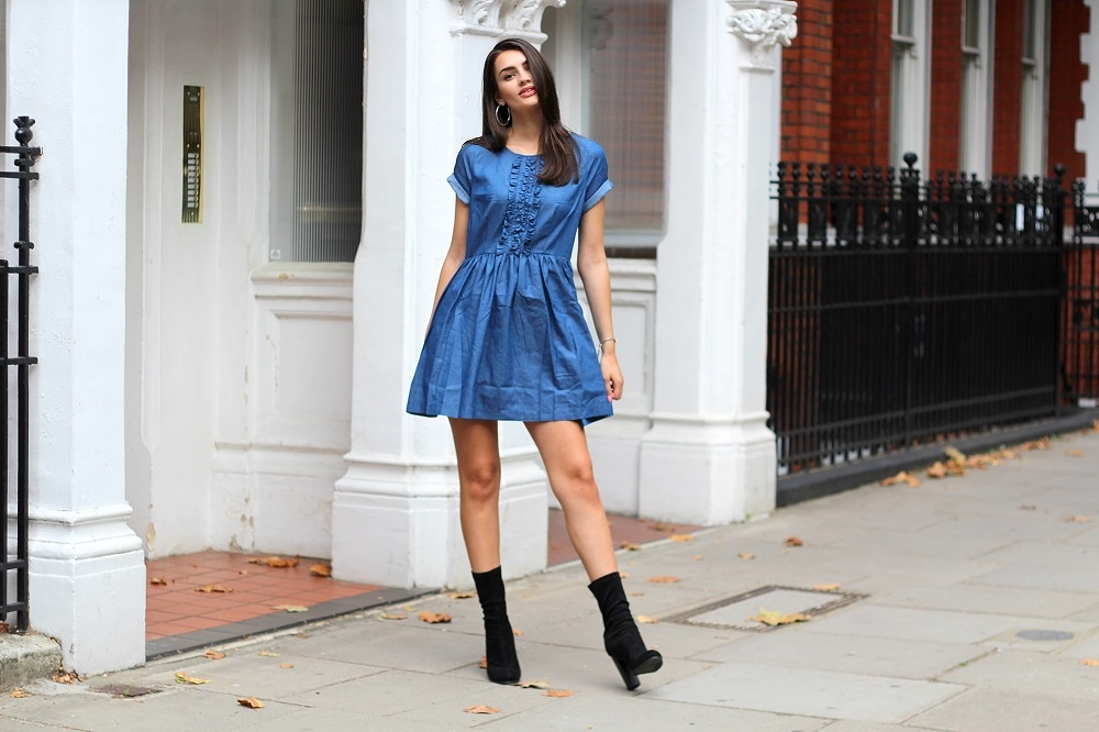 back to school style denim smock dress