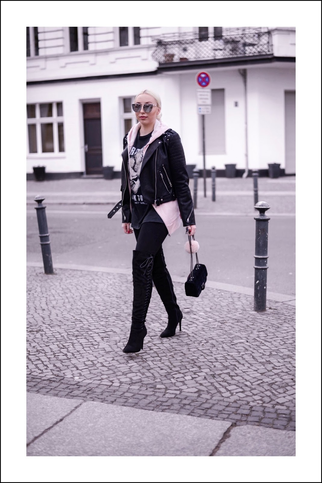 all black streetstyle_zara leather jacket_over the knee boots