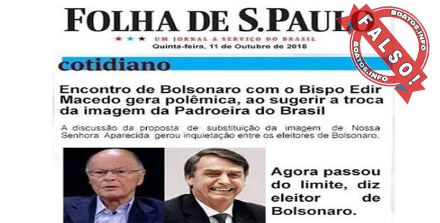 Bolsonaro irá trocar padroeira do Brasil a pedido de Edir Macedo - #Fake