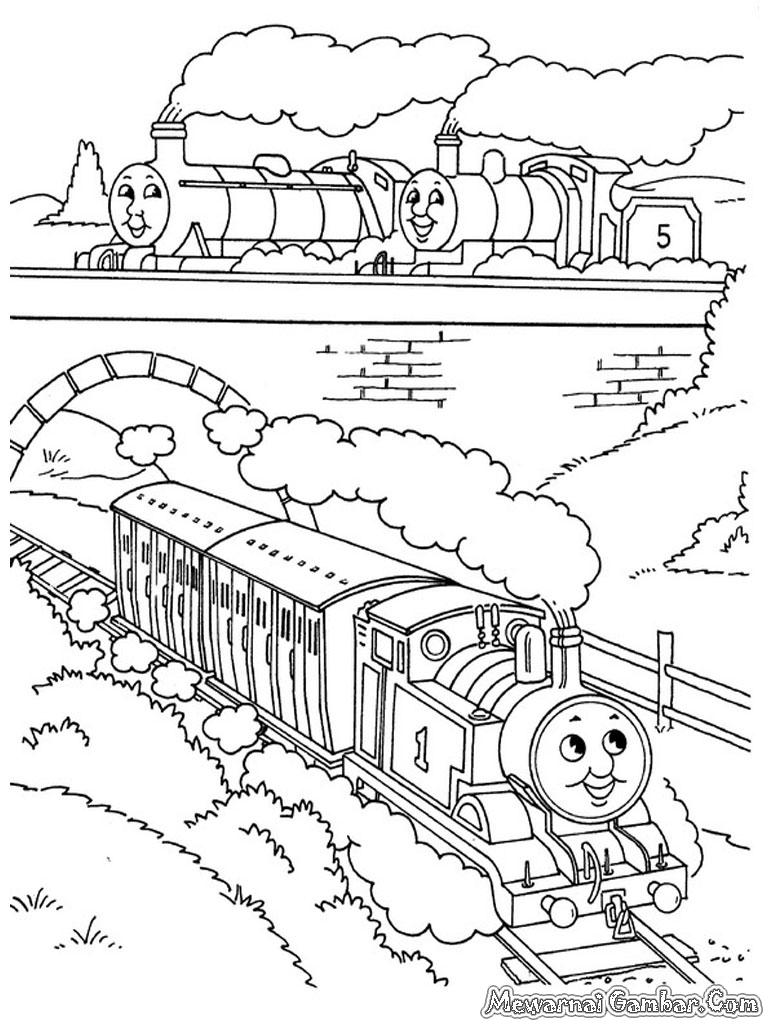 Koleksi Gambar Kereta Api Kartun Untuk Diwarnai