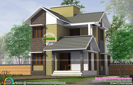 Small slope roof double storied house