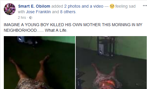 Very Graphic: Young man hacks his mother to death in Edo State